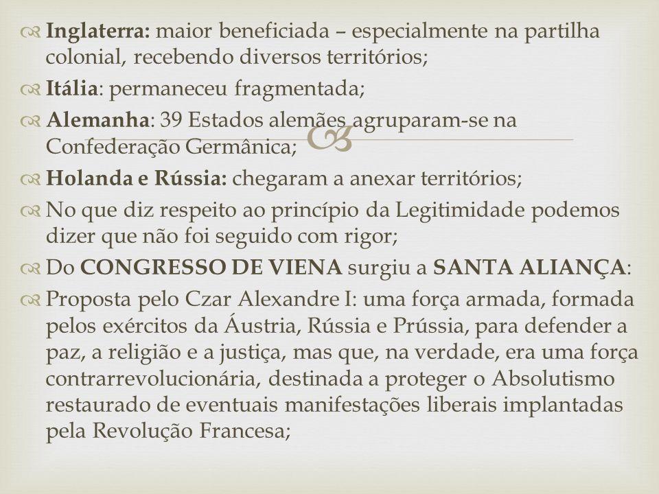   Inglaterra aderiu à Santa Aliança sendo seguida pela França;  Quíntupla Aliança: promoveu diversas intervenções em Estados Europeus que passavam por agitações revolucionárias liberais – em 1819, foram reprimidos nacionalistas que pretendiam a Unificação da Alemanha; em 1821 e 1822, foram combatidos os liberais na Itália e na Espanha, respectivamente;  O sistema político que emergiu do Congresso de Viena foi o SISTEMA METTERNICH – baseado na existência de um conjunto de Estados Absolutistas na Europa, logo entrou em crise – a Inglaterra avançava na Industrialização, e por toda a Europa amadurecia o sistema capitalista, consolidando valores, burgueses, liberais e nacionalistas;  O Antigo Regime, restaurado pelo Congresso de Viena, era um entrave que não poderia durar muito tempo;
