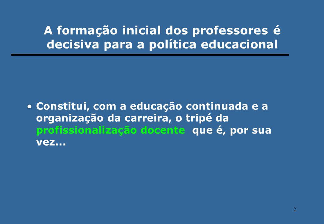 2 Constitui, com a educação continuada e a organização da carreira, o tripé da profissionalização docente que é, por sua vez... A formação inicial dos