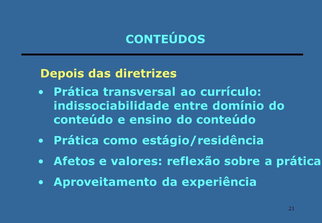 21 CONTEÚDOS Prática transversal ao currículo: indissociabilidade entre domínio do conteúdo e ensino do conteúdo Prática como estágio/residência Afeto