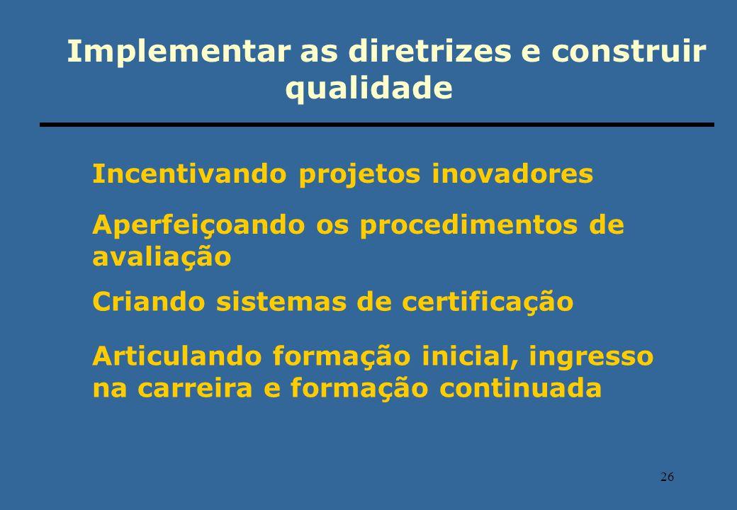 26 Implementar as diretrizes e construir qualidade Incentivando projetos inovadores Aperfeiçoando os procedimentos de avaliação Criando sistemas de ce