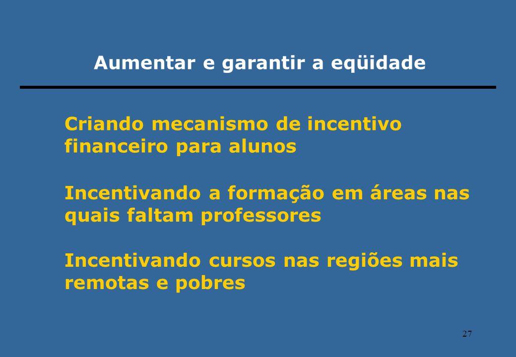27 Aumentar e garantir a eqüidade Criando mecanismo de incentivo financeiro para alunos Incentivando a formação em áreas nas quais faltam professores