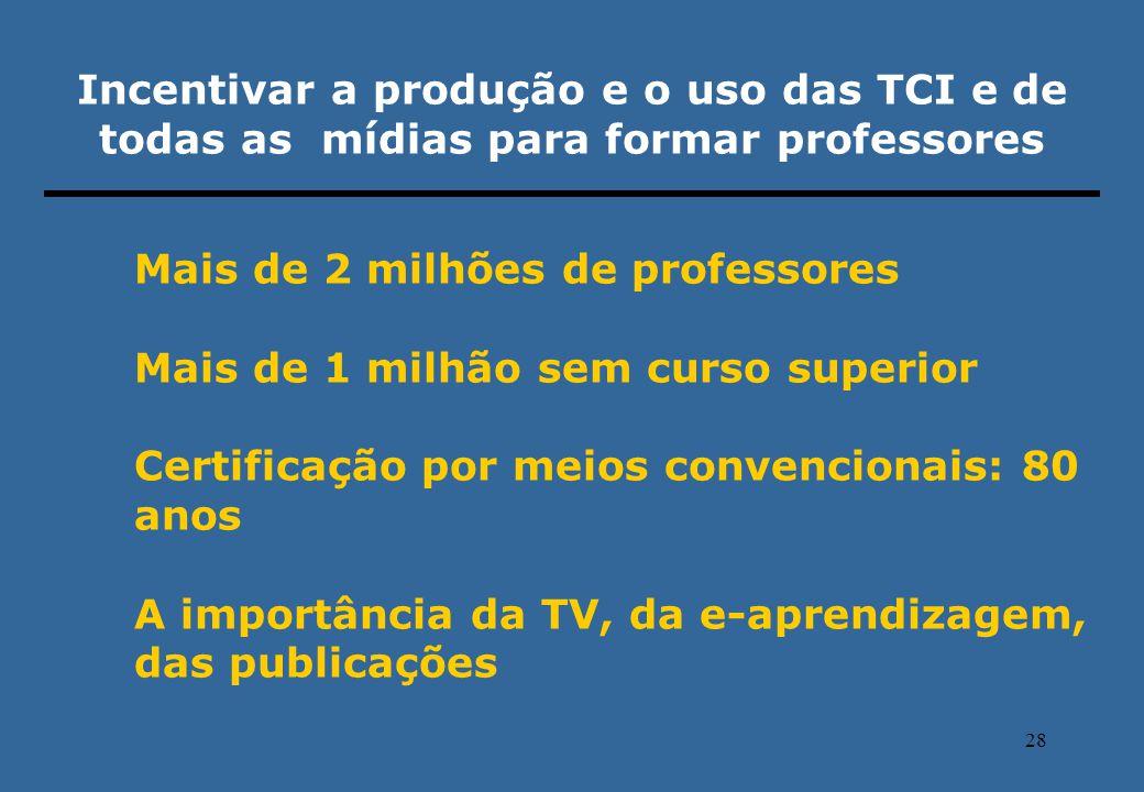 28 Incentivar a produção e o uso das TCI e de todas as mídias para formar professores Mais de 2 milhões de professores Mais de 1 milhão sem curso supe