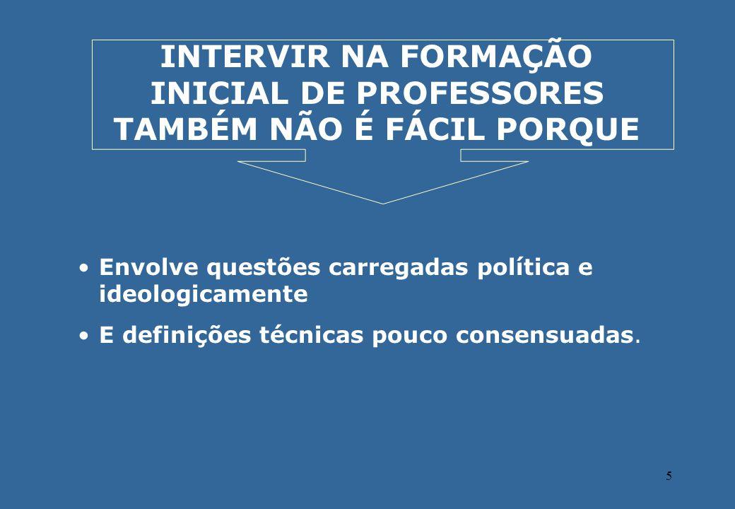 5 INTERVIR NA FORMAÇÃO INICIAL DE PROFESSORES TAMBÉM NÃO É FÁCIL PORQUE Envolve questões carregadas política e ideologicamente E definições técnicas p