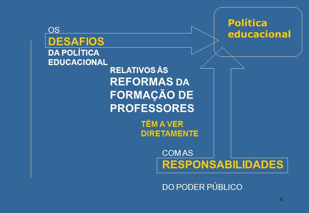 6 OS DESAFIOS DA POLÍTICA EDUCACIONAL RELATIVOS ÀS REFORMAS DA FORMAÇÃO DE PROFESSORES COM AS RESPONSABILIDADES DO PODER PÚBLICO TÊM A VER DIRETAMENTE