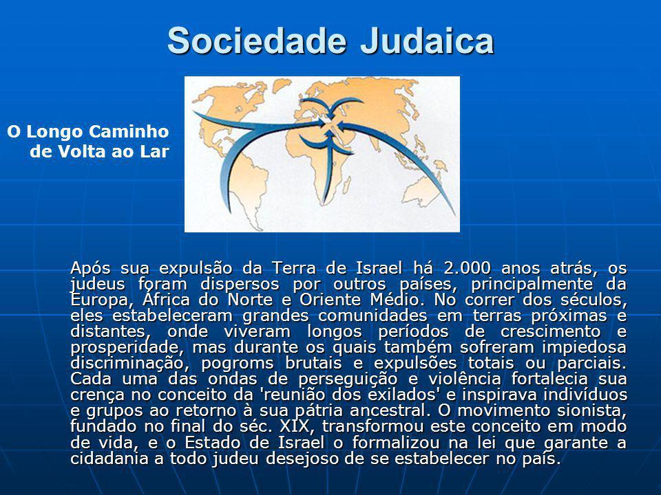 Sociedade Judaica Após sua expulsão da Terra de Israel há 2.000 anos atrás, os judeus foram dispersos por outros países, principalmente da Europa, Áfr