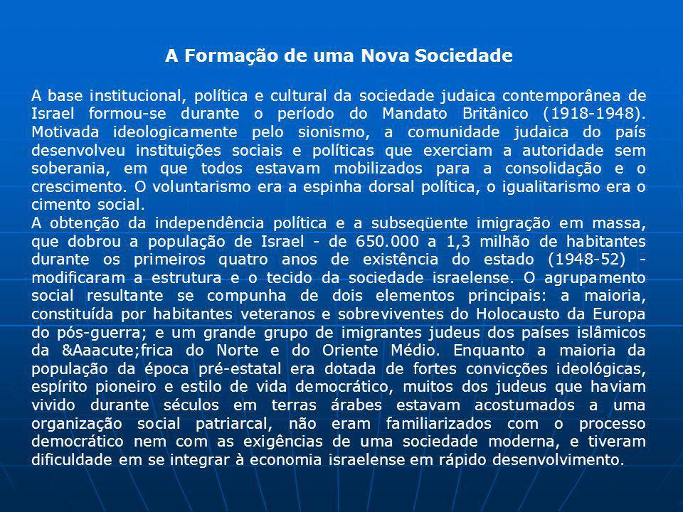 A Formação de uma Nova Sociedade A base institucional, política e cultural da sociedade judaica contemporânea de Israel formou-se durante o período do