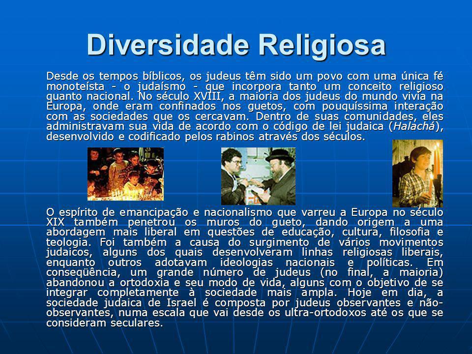 Diversidade Religiosa Desde os tempos bíblicos, os judeus têm sido um povo com uma única fé monoteísta - o judaísmo - que incorpora tanto um conceito