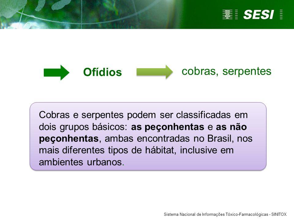 Ofídios Sistema Nacional de Informações Tóxico-Farmacológicas - SINITOX Cobras e serpentes podem ser classificadas em dois grupos básicos: as peçonhentas e as não peçonhentas, ambas encontradas no Brasil, nos mais diferentes tipos de hábitat, inclusive em ambientes urbanos.