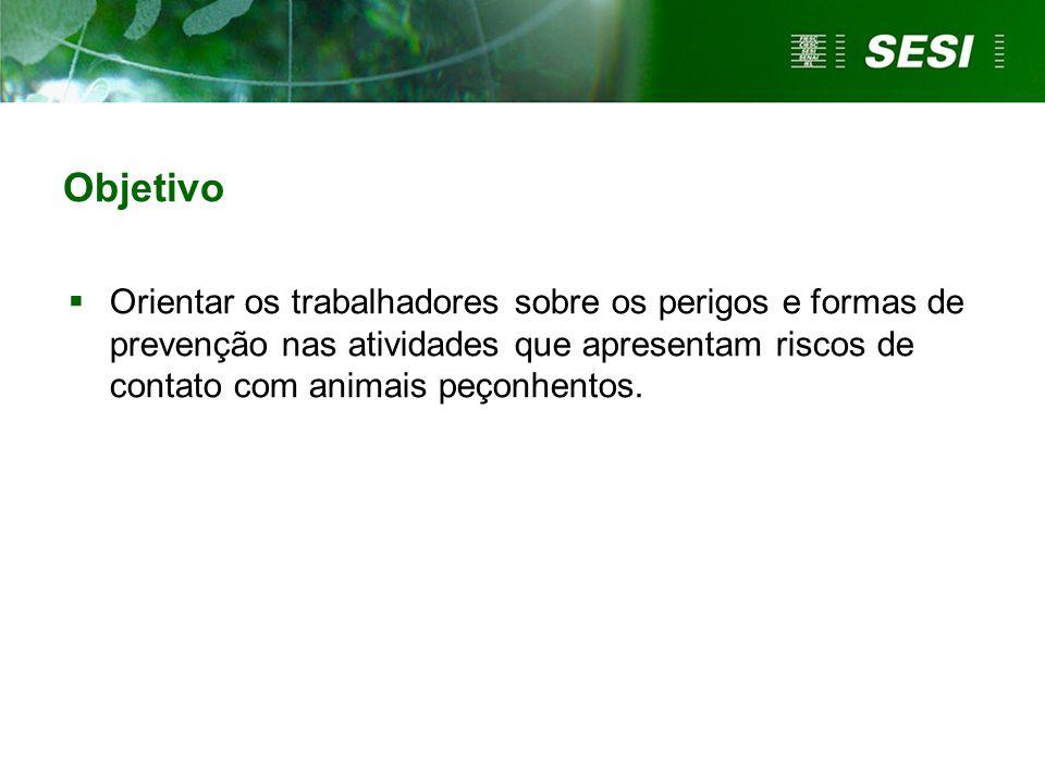Objetivo  Orientar os trabalhadores sobre os perigos e formas de prevenção nas atividades que apresentam riscos de contato com animais peçonhentos.