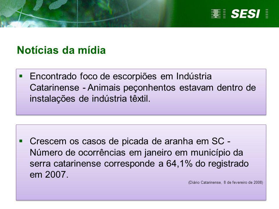 Notícias da mídia  Crescem os casos de picada de aranha em SC - Número de ocorrências em janeiro em município da serra catarinense corresponde a 64,1