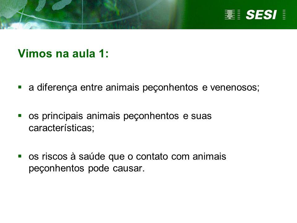 Vimos na aula 1:  a diferença entre animais peçonhentos e venenosos;  os principais animais peçonhentos e suas características;  os riscos à saúde que o contato com animais peçonhentos pode causar.