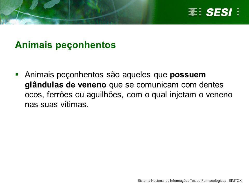 Sistema Nacional de Informações Tóxico-Farmacológicas - SINITOX Animais peçonhentos  Animais peçonhentos são aqueles que possuem glândulas de veneno que se comunicam com dentes ocos, ferrões ou aguilhões, com o qual injetam o veneno nas suas vítimas.