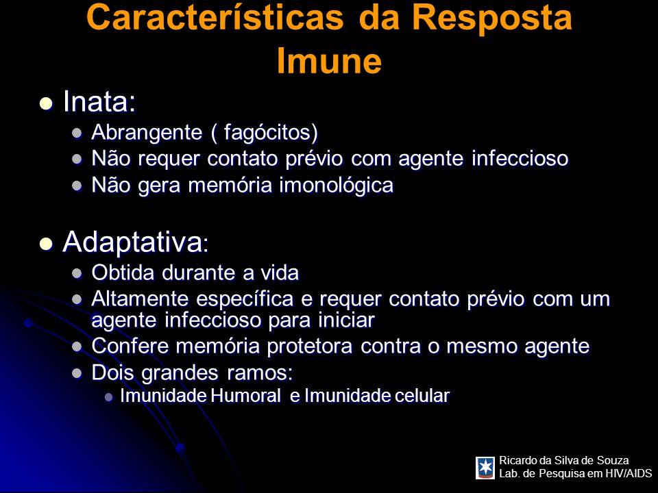 Ricardo da Silva de Souza Lab. de Pesquisa em HIV/AIDS Características da Resposta Imune Inata: Inata: Abrangente ( fagócitos) Abrangente ( fagócitos)