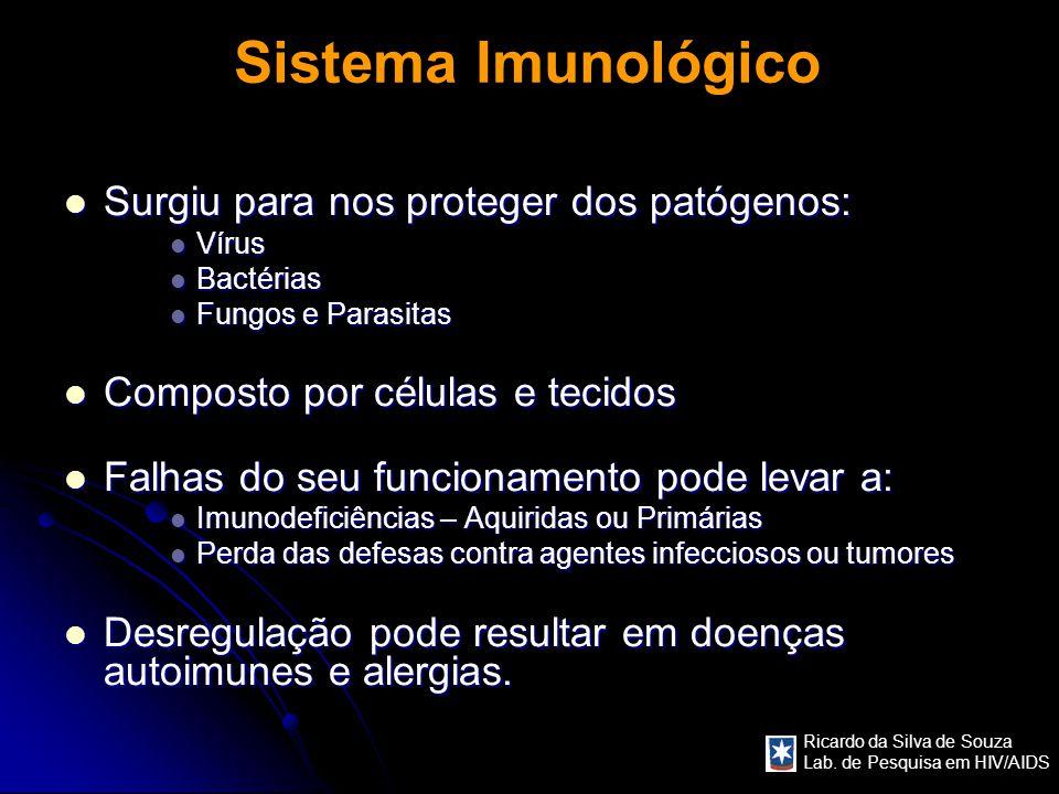 Ricardo da Silva de Souza Lab. de Pesquisa em HIV/AIDS Sistema Imunológico Surgiu para nos proteger dos patógenos: Surgiu para nos proteger dos patóge