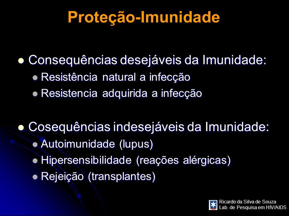 Ricardo da Silva de Souza Lab. de Pesquisa em HIV/AIDS Proteção-Imunidade Consequências desejáveis da Imunidade: Consequências desejáveis da Imunidade
