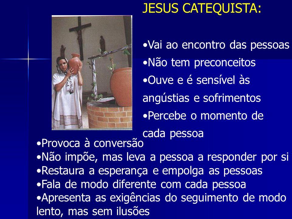 JESUS CATEQUISTA: Vai ao encontro das pessoas Não tem preconceitos Ouve e é sensível às angústias e sofrimentos Percebe o momento de cada pessoa Provo
