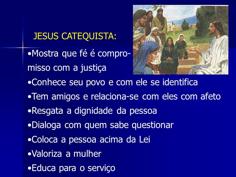 JESUS CATEQUISTA: Mostra que fé é compro- misso com a justiça Conhece seu povo e com ele se identifica Tem amigos e relaciona-se com eles com afeto Re