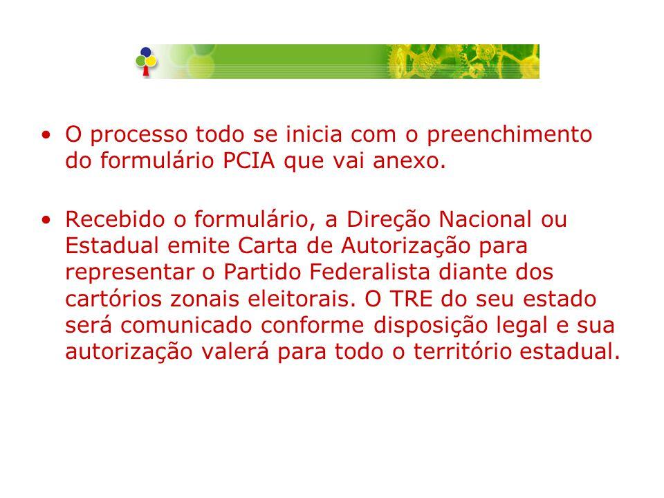 O processo todo se inicia com o preenchimento do formulário PCIA que vai anexo.