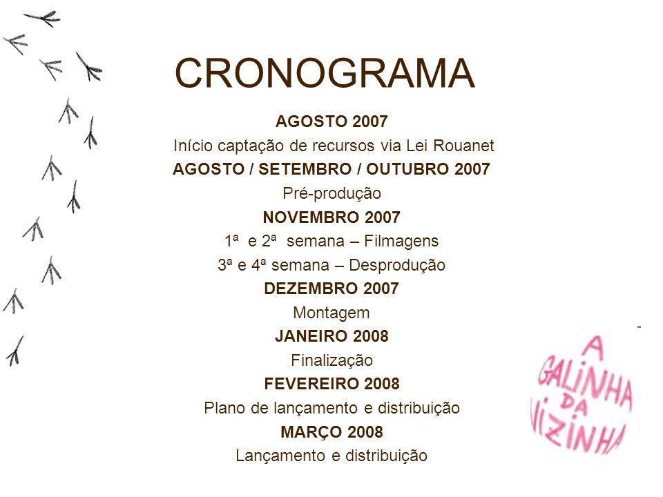 CRONOGRAMA AGOSTO 2007 Início captação de recursos via Lei Rouanet AGOSTO / SETEMBRO / OUTUBRO 2007 Pré-produção NOVEMBRO 2007 1ª e 2ª semana – Filmag