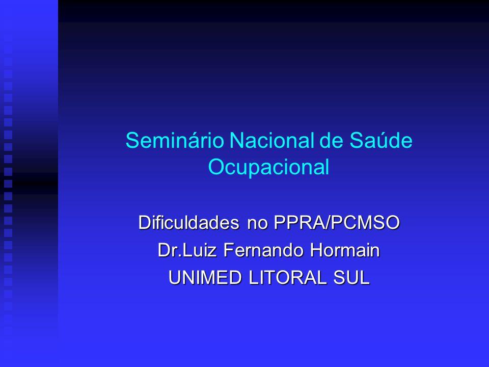 Seminário Nacional de Saúde Ocupacional Dificuldades no PPRA/PCMSO Dr.Luiz Fernando Hormain UNIMED LITORAL SUL