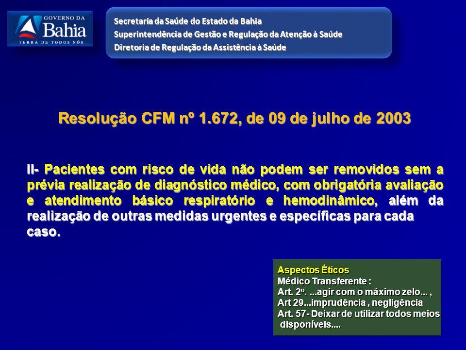 Resolução CFM nº 1.672, de 09 de julho de 2003 II- Pacientes com risco de vida não podem ser removidos sem a prévia realização de diagnóstico médico,
