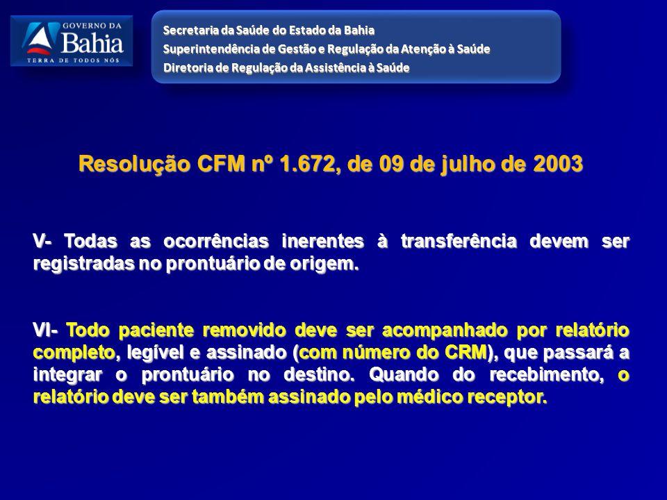 Resolução CFM nº 1.672, de 09 de julho de 2003 V- Todas as ocorrências inerentes à transferência devem ser registradas no prontuário de origem. VI- To