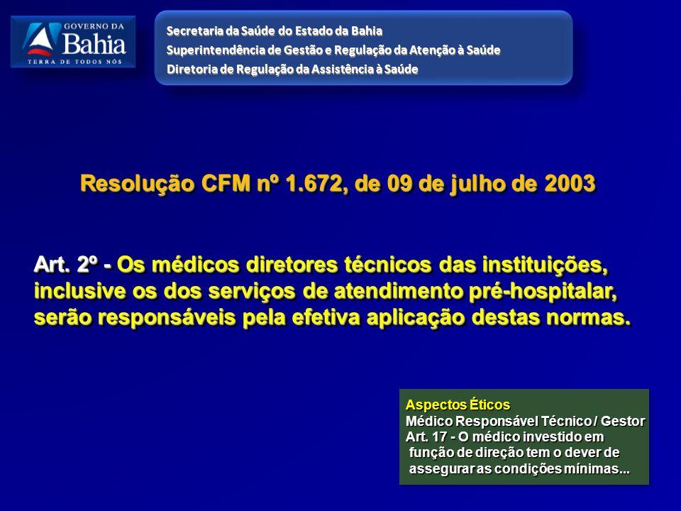 Resolução CFM nº 1.672, de 09 de julho de 2003 Art. 2º - Os médicos diretores técnicos das instituições, inclusive os dos serviços de atendimento pré-