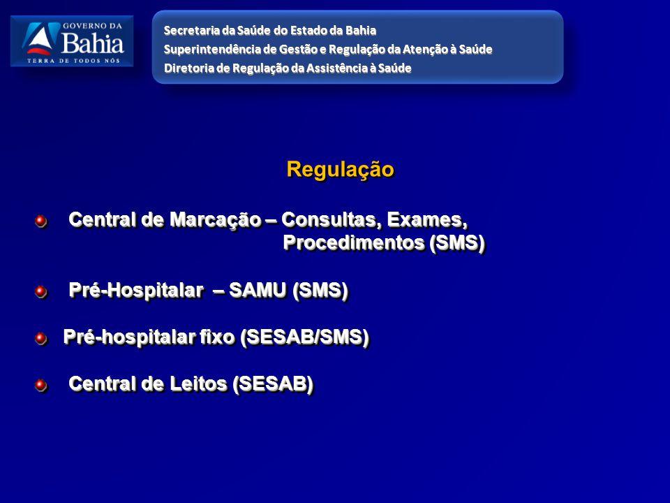 Regulação Central de Marcação – Consultas, Exames, Central de Marcação – Consultas, Exames, Procedimentos (SMS) Procedimentos (SMS) Pré-Hospitalar – S