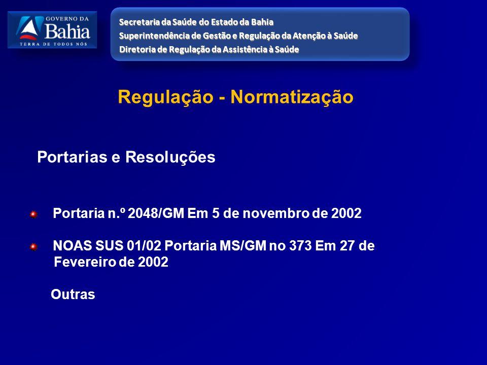 Regulação - Normatização Portarias e Resoluções Portaria n.º 2048/GM Em 5 de novembro de 2002 NOAS SUS 01/02 Portaria MS/GM no 373 Em 27 de Fevereiro
