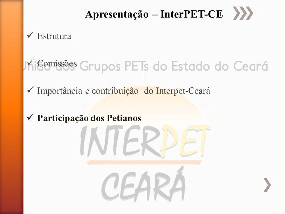 Estrutura Comissões Importância e contribuição do Interpet-Ceará Participação dos Petianos