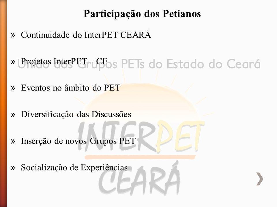 » Continuidade do InterPET CEARÁ » Projetos InterPET – CE » Eventos no âmbito do PET » Diversificação das Discussões » Inserção de novos Grupos PET » Socialização de Experiências