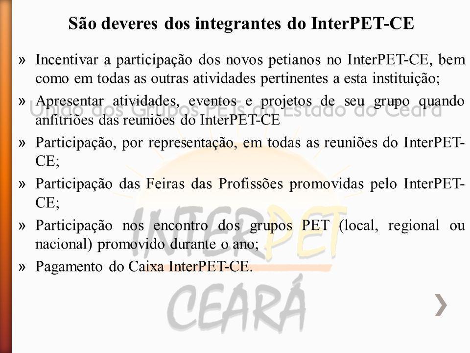 » Incentivar a participação dos novos petianos no InterPET-CE, bem como em todas as outras atividades pertinentes a esta instituição; » Apresentar ati