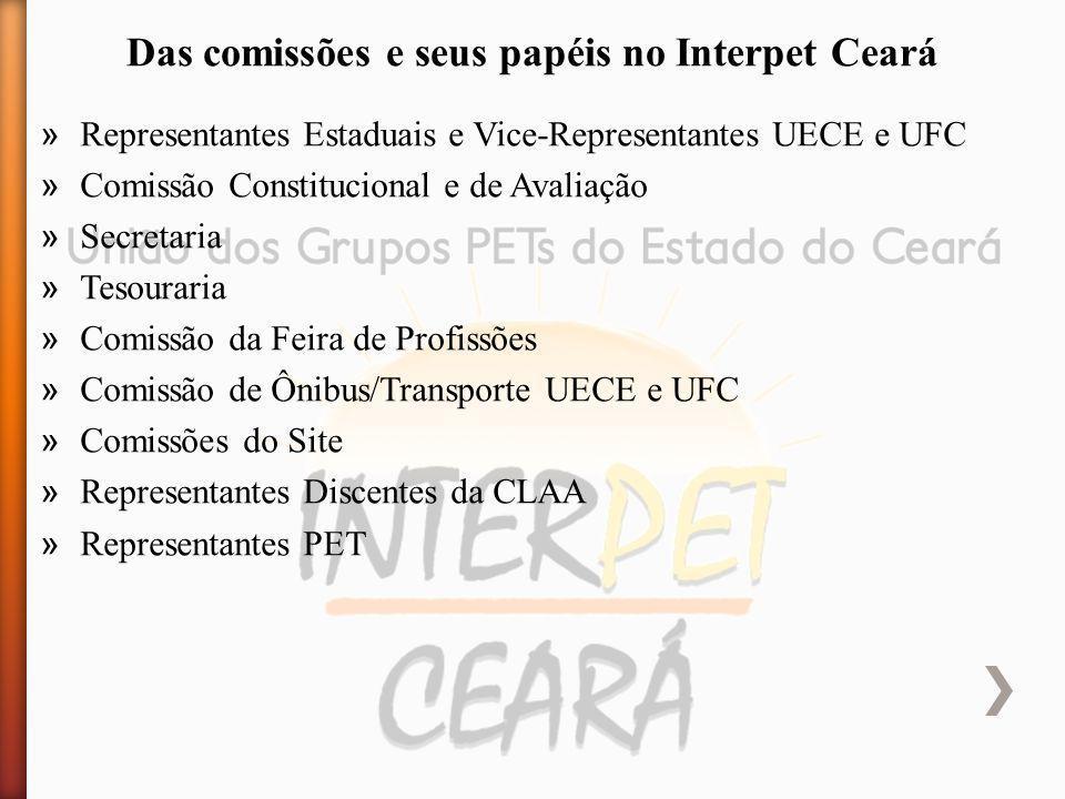 » Representantes Estaduais e Vice-Representantes UECE e UFC » Comissão Constitucional e de Avaliação » Secretaria » Tesouraria » Comissão da Feira de