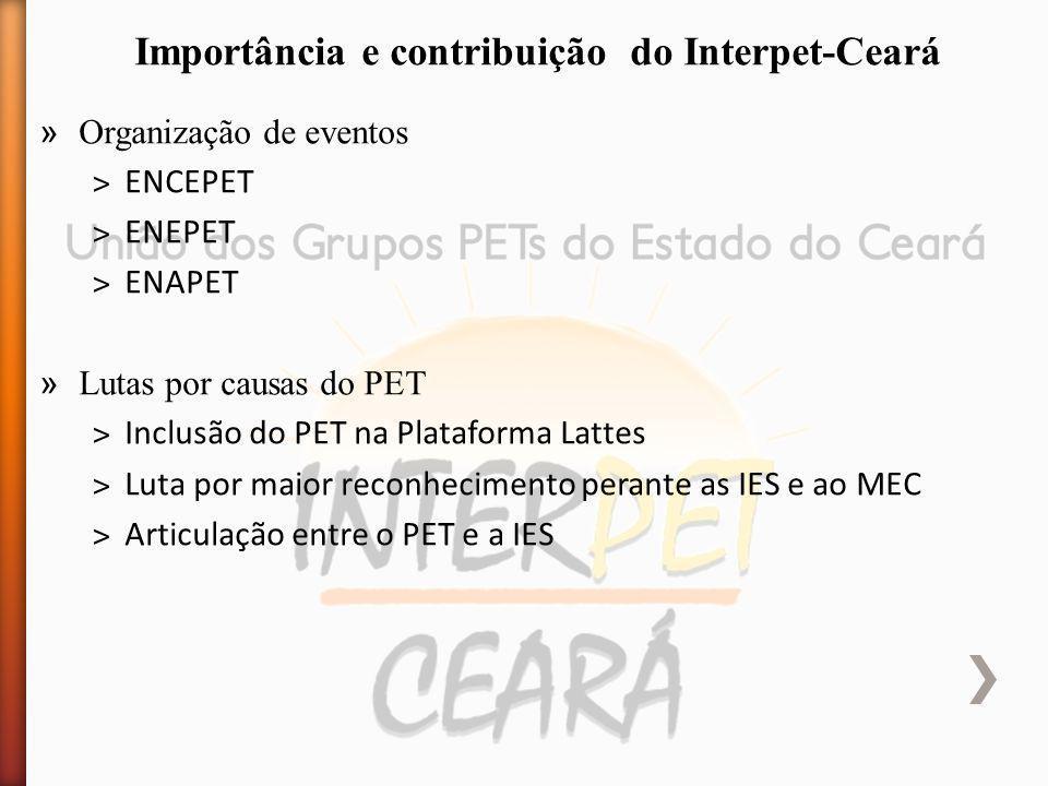» Organização de eventos ˃ENCEPET ˃ENEPET ˃ENAPET » Lutas por causas do PET ˃Inclusão do PET na Plataforma Lattes ˃Luta por maior reconhecimento perante as IES e ao MEC ˃Articulação entre o PET e a IES