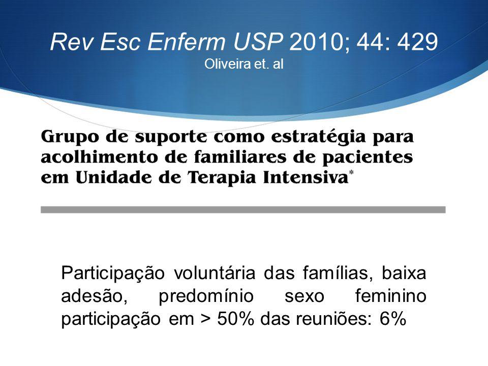 Rev Esc Enferm USP 2010; 44: 429 Oliveira et. al Participação voluntária das famílias, baixa adesão, predomínio sexo feminino participação em > 50% da