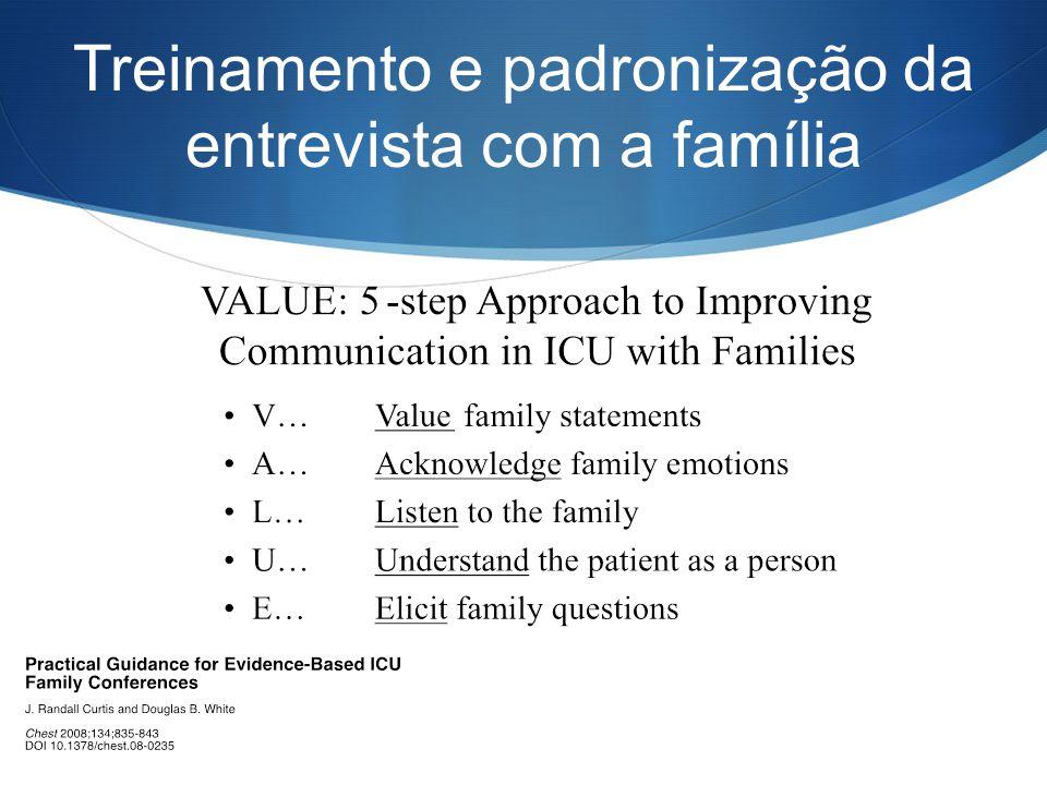 Treinamento e padronização da entrevista com a família