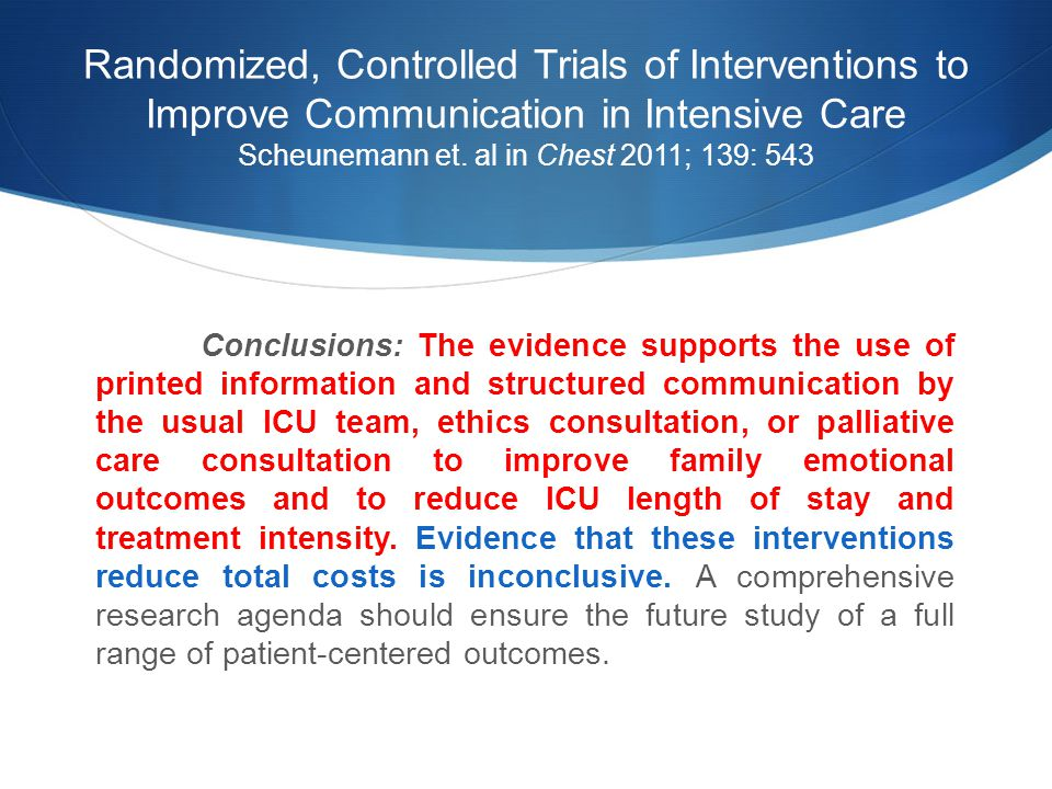 Randomized, Controlled Trials of Interventions to Improve Communication in Intensive Care Scheunemann et.