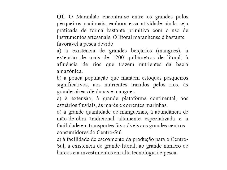 Q1. O Maranhão encontra-se entre os grandes polos pesqueiros nacionais, embora essa atividade ainda seja praticada de forma bastante primitiva com o u