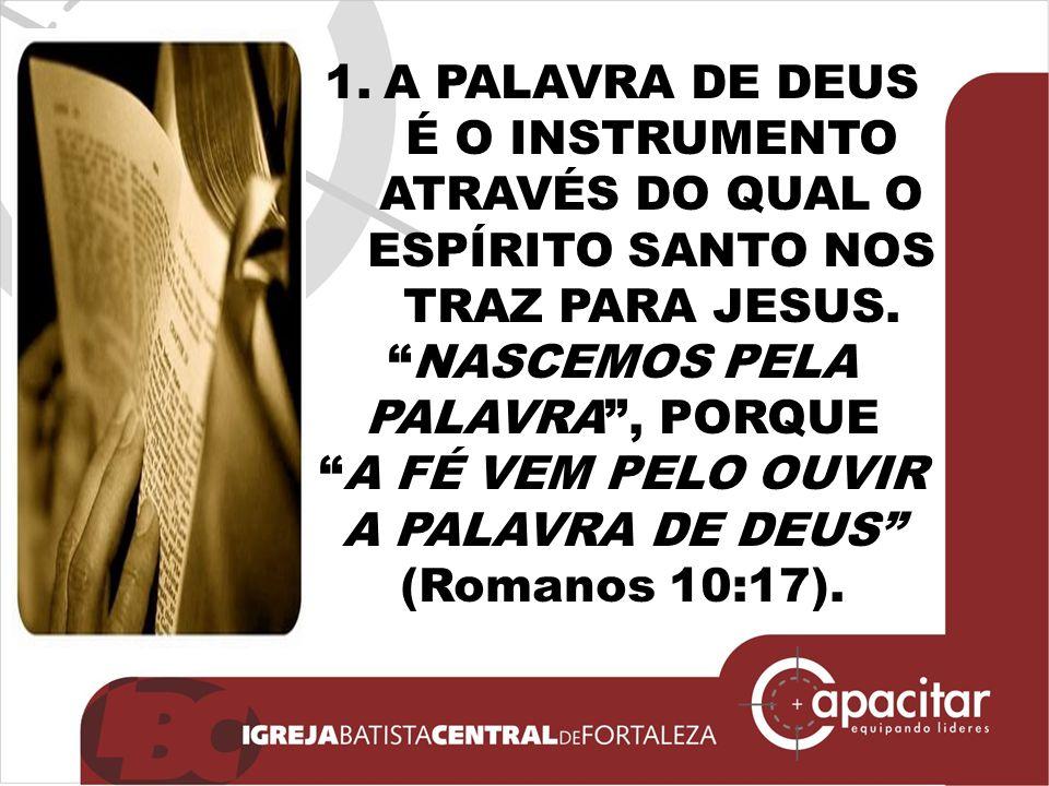 """1.A PALAVRA DE DEUS É O INSTRUMENTO ATRAVÉS DO QUAL O ESPÍRITO SANTO NOS TRAZ PARA JESUS. """"NASCEMOS PELA PALAVRA"""", PORQUE """"A FÉ VEM PELO OUVIR A PALAV"""
