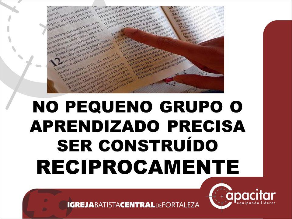 NO PEQUENO GRUPO O APRENDIZADO PRECISA SER CONSTRUÍDO RECIPROCAMENTE
