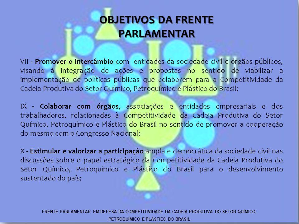 VII - Promover o intercâmbio com entidades da sociedade civil e órgãos públicos, visando à integração de ações e propostas no sentido de viabilizar a implementação de políticas públicas que colaborem para a Competitividade da Cadeia Produtiva do Setor Químico, Petroquímico e Plástico do Brasil; IX - Colaborar com órgãos, associações e entidades empresariais e dos trabalhadores, relacionadas à Competitividade da Cadeia Produtiva do Setor Químico, Petroquímico e Plástico do Brasil no sentido de promover a cooperação do mesmo com o Congresso Nacional; X - Estimular e valorizar a participação ampla e democrática da sociedade civil nas discussões sobre o papel estratégico da Competitividade da Cadeia Produtiva do Setor Químico, Petroquímico e Plástico do Brasil para o desenvolvimento sustentado do país; OBJETIVOS DA FRENTE PARLAMENTAR FRENTE PARLAMENTAR EM DEFESA DA COMPETITIVIDADE DA CADEIA PRODUTIVA DO SETOR QUÍMICO, PETROQUÍMICO E PLÁSTICO DO BRASIL