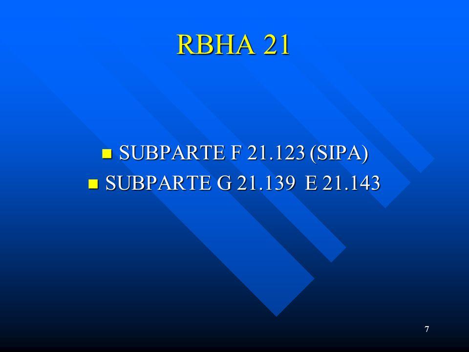 7 RBHA 21 SUBPARTE F 21.123 (SIPA) SUBPARTE F 21.123 (SIPA) SUBPARTE G 21.139 E 21.143 SUBPARTE G 21.139 E 21.143