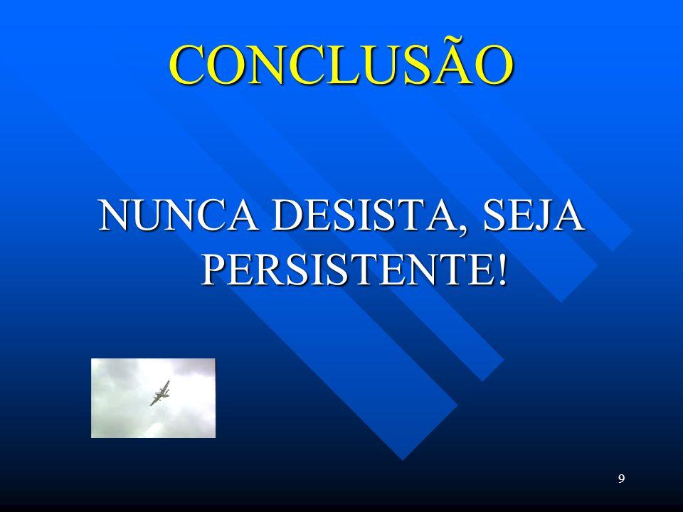 9 CONCLUSÃO NUNCA DESISTA, SEJA PERSISTENTE!