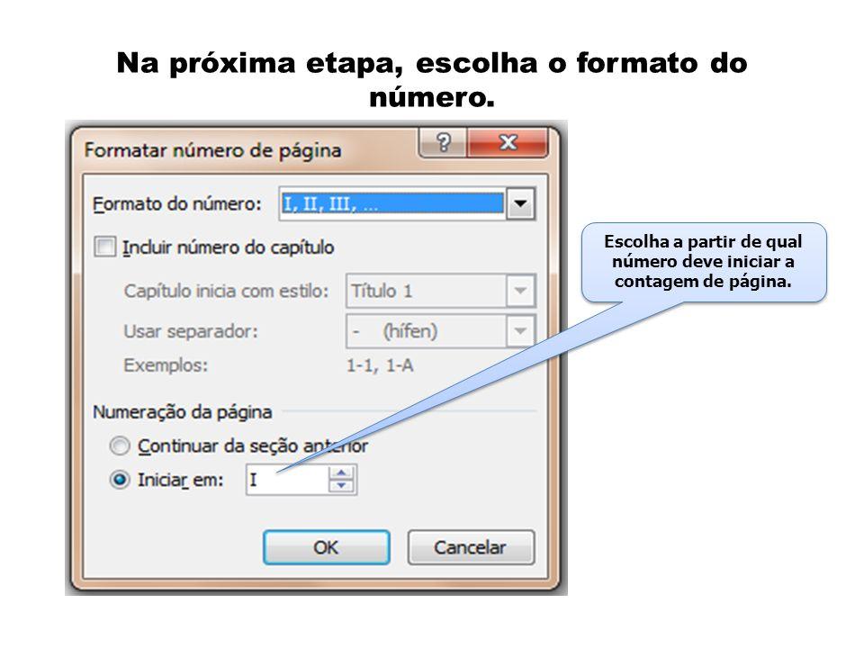 Na próxima etapa, escolha o formato do número. Escolha a partir de qual número deve iniciar a contagem de página.