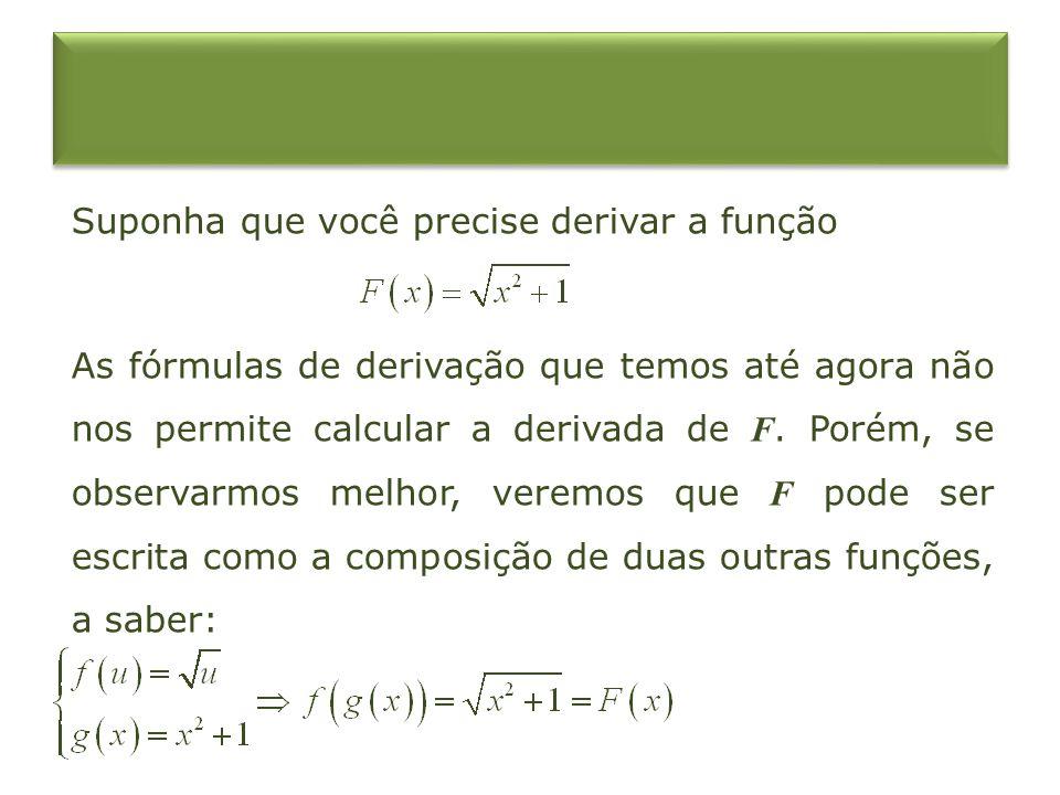 Suponha que você precise derivar a função As fórmulas de derivação que temos até agora não nos permite calcular a derivada de F. Porém, se observarmos
