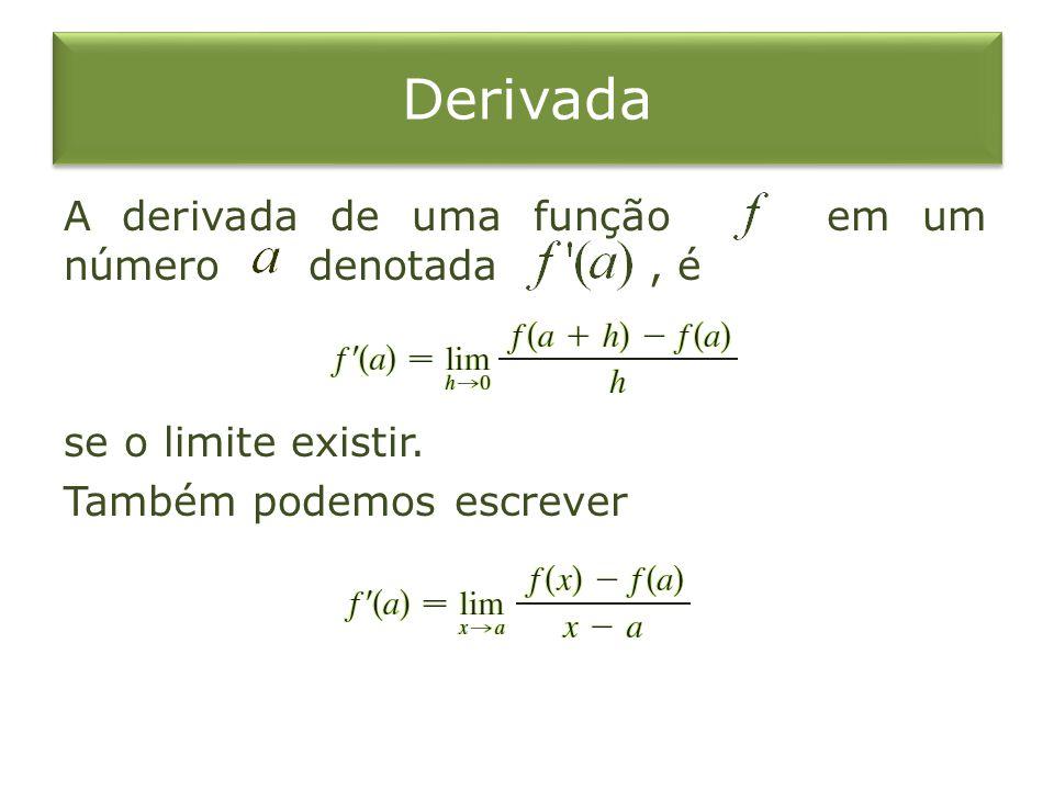 Derivada A derivada de uma função em um número denotada, é se o limite existir.