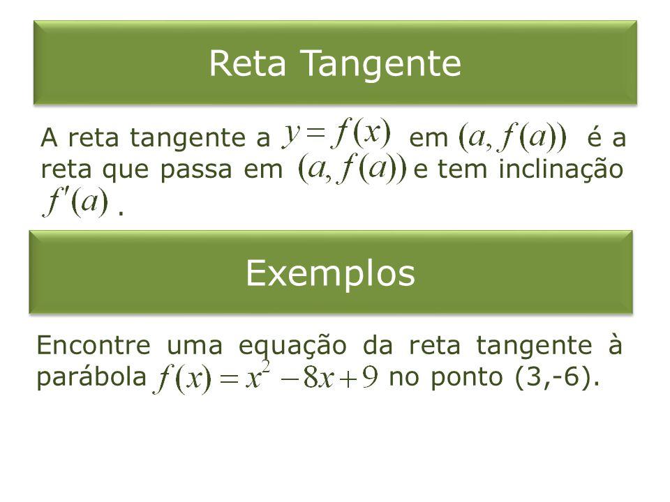 Reta Tangente A reta tangente a em é a reta que passa em e tem inclinação.