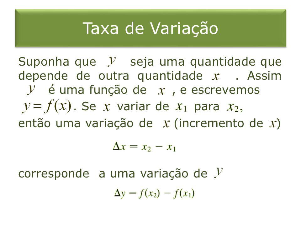 Taxa de Variação Suponha que seja uma quantidade que depende de outra quantidade.