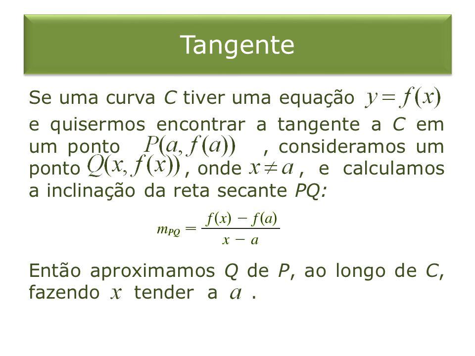 Tangente Se uma curva C tiver uma equação e quisermos encontrar a tangente a C em um ponto, consideramos um ponto, onde, e calculamos a inclinação da reta secante PQ: Então aproximamos Q de P, ao longo de C, fazendo tender a.