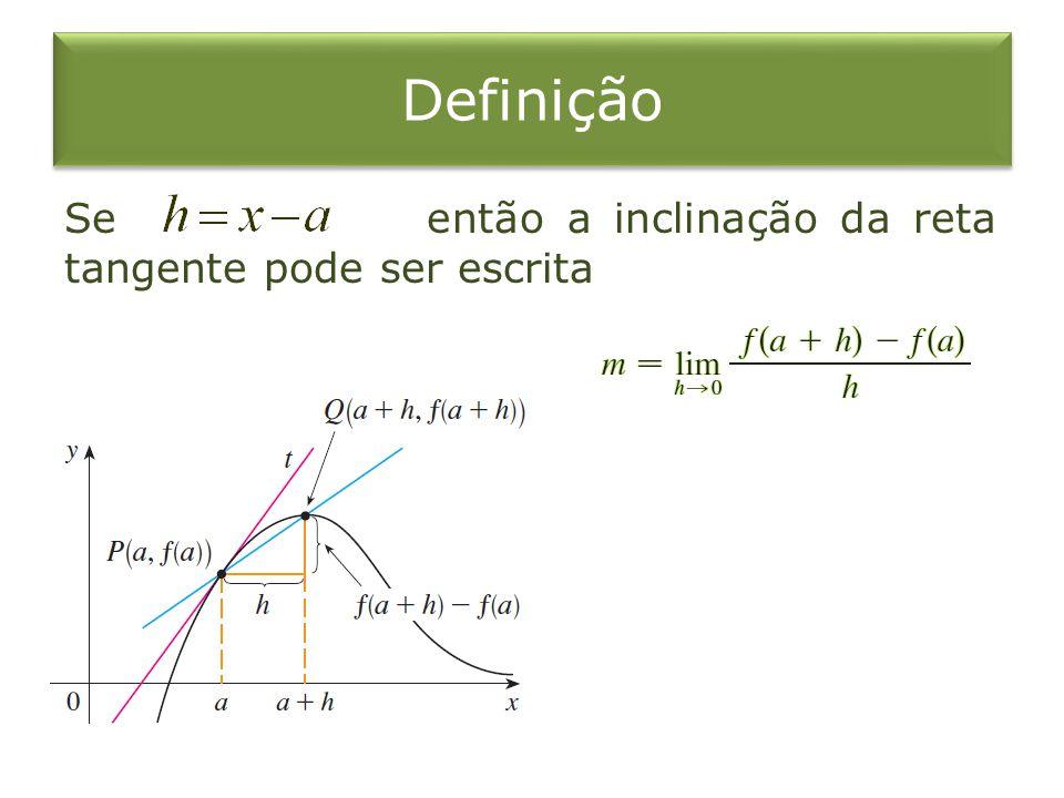 Taxa de Variação O limite dessa taxas médias de variação é chamado taxa instantânea de variação de em relação a em, que é interpretada como a inclinação da tangente à curva em.